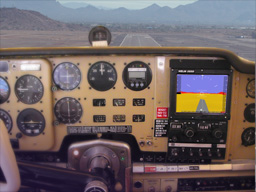 Approach to 07L with fullscreen Synthetic Vision